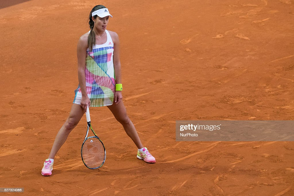 Ana Ivanovic of Serbia in action against Louisa Chirico during match of day three of the Mutua Madrid Open tennis tournament at the Caja Magica on May 02, 2016 in Madrid,Spain.