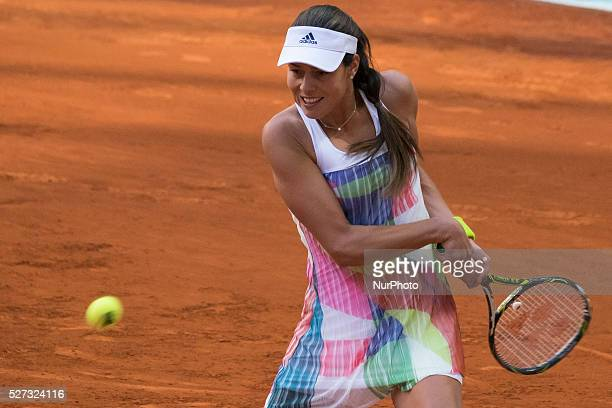 Ana Ivanovic of Serbia in action against Louisa Chirico during match of day three of the Mutua Madrid Open tennis tournament at the Caja Magica on...