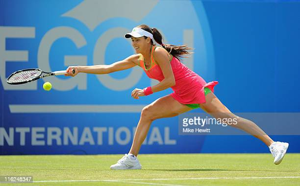Ana Ivanovic of Serbia in action against Venus Williams of USA during day five of the AEGON International at Devonshire Park on June 15 2011 in...