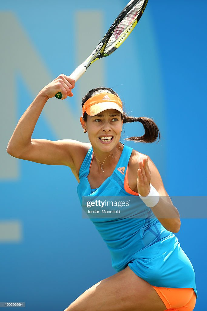 Ana Ivanovic of Serbia in action in her semi-final match against Shuai Zhang of China during day six of the Aegon Classic at Edgbaston Priory Club on June 14, 2014 in Birmingham, England.
