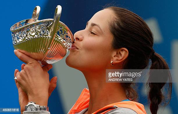Ana Ivanovic of Serbia kisses the Maud Watson trophy after beating Barbora Zahlavova Strycova of Czech Republic in the final of the WTA AEGON Classic...