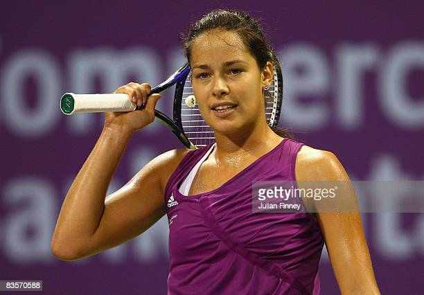 Ana Ivanovic of Serbia looks frustrated in her match against Vera Zvonareva of Russia during the Sony Ericsson Championships at the Khalifa Tennis...