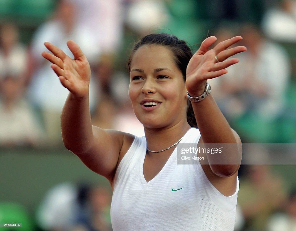 Ana Ivanovic of Serbia & Montenegro celebrates defeating Amelie Mouresmo of France in the third round match during the sixth day of the French Open at Roland Garros on May 28, 2005 in Paris, France.