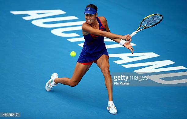 Ana Ivanovic of Serbia plays a backhand during her semifinal match against Kirsten Flipkens of Belgium during day five of the ASB Classic at the ASB...