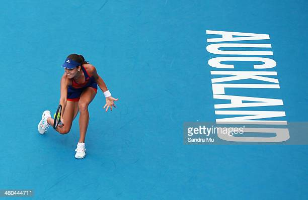 Ana Ivanovic of Serbia plays a backhand during the singles final against Venus Williams of USA on day six of the ASB Classic at ASB Tennis Centre on...