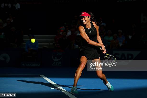 Ana Ivanovic of Serbia plays a backhand in her match against Varvara Lepchenko of the USA during day six of the 2015 Brisbane International at Pat...