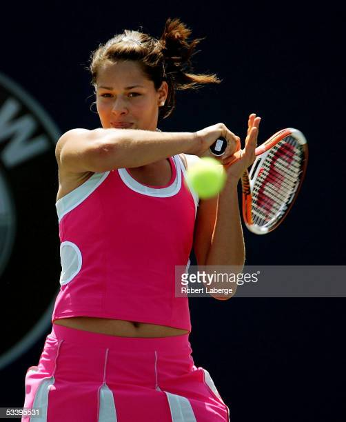 Ana Ivanovic of Serbia plays a forehand against Tathiana Garbin of Italy in the first round at the Sony Ericsson WTA Tour Rogers Cup tennis...