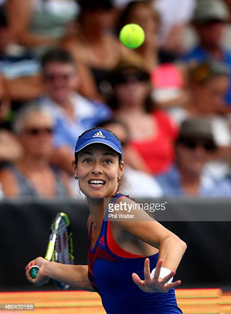 Ana Ivanovic of Serbia plays a forehand during her finals match against Venus Williams of the USA on day six of the ASB Classic at the ASB Tennis...