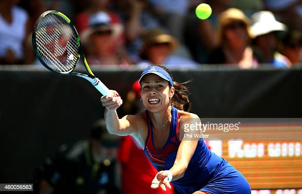 Ana Ivanovic of Serbia plays a forehand during her quarterfinal match against Kurumi Nara of Japan during day four of the ASB Classic at the ASB...