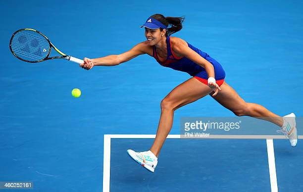 Ana Ivanovic of Serbia plays a forehand during her semifinal match against Kirsten Flipkens of Belgium during day five of the ASB Classic at the ASB...