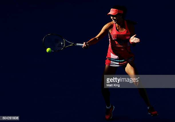 Ana Ivanovic of Serbia plays a forehand in her match against Karolina Pliskova of the Czech Republic during day one of the 2016 Sydney International...