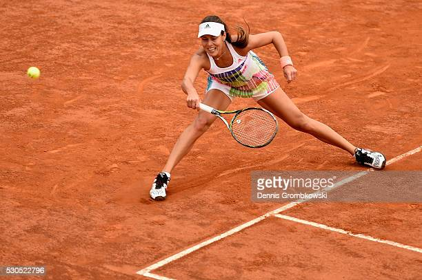 Ana Ivanovic of Serbia plays a forehand in her match against Christina Mchale of the United States on Day Four of The Internazionali BNL d'Italia on...