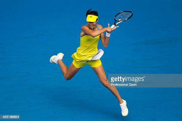 Ana Ivanovic of Serbia plays a forehand in her third round match against Jelena Jankovic of Serbia during day five of the 2013 Australian Open at...