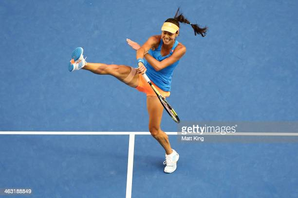 Ana Ivanovic of Serbia plays a forehand in her third round match against Samantha Stosur of Australia during day five of the 2014 Australian Open at...