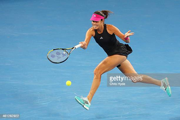 Ana Ivanovic of Serbia plays a forehand in the Women's final match against Maria Sharapova of Russia during day seven of the 2015 Brisbane...