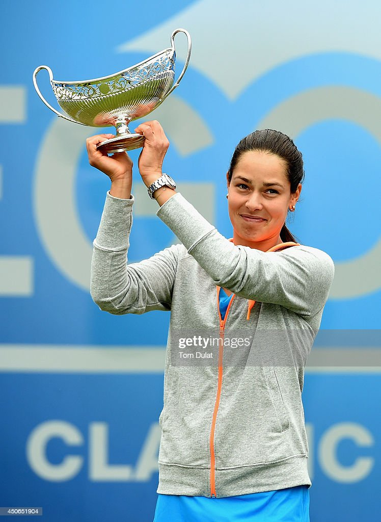 Ana Ivanovic of Serbia poses with the trophy following her victory in the Singles Final during Day Seven of the Aegon Classic at Edgbaston Priory Club on June 15, 2014 in Birmingham, England.
