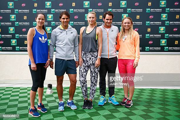 Ana Ivanovic of Serbia Rafael Nadal of Spain Maria Sharapova of Russia Roger Federer of Switzerland and Caroline Wozniacki of Denmark pose for a...