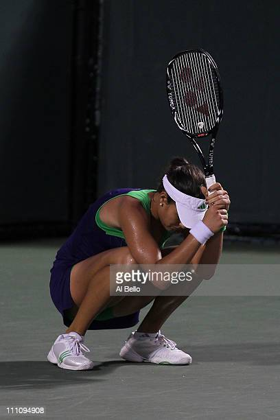 Ana Ivanovic of Serbia reacts after she lost a point late in her match against Kim Clijsters of Belgium during the Sony Ericsson Open at Crandon Park...