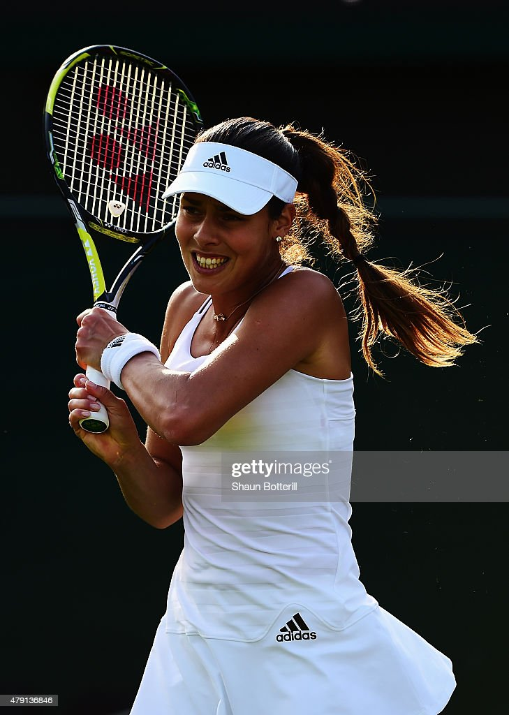 Ana Ivanovic of Serbia returns a shot in her Ladies Singles Second Round match against Bethanie Mattek-Sands of the United States of America during day three of the Wimbledon Lawn Tennis Championships at the All England Lawn Tennis and Croquet Club on July 1, 2015 in London, England.