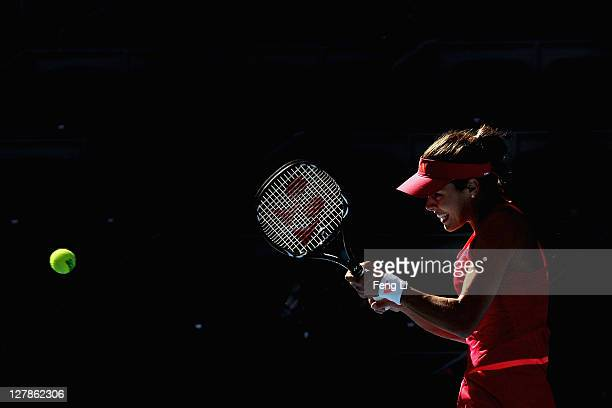 Ana Ivanovic of Serbia returns a shot to Kimiko DateKrumm of Japan during day two of the China Open at the National Tennis Center on October 2 2011...