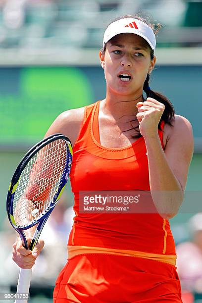 Ana Ivanovic of Serbia returns reacts after defeating Pauline Parmentier of France during day three of the 2010 Sony Ericsson Open at Crandon Park...