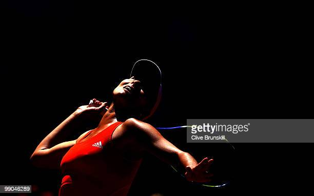 Ana Ivanovic of Serbia serves against Jelena Jankovic of Serbia in their second round match during the Mutua Madrilena Madrid Open tennis tournament...