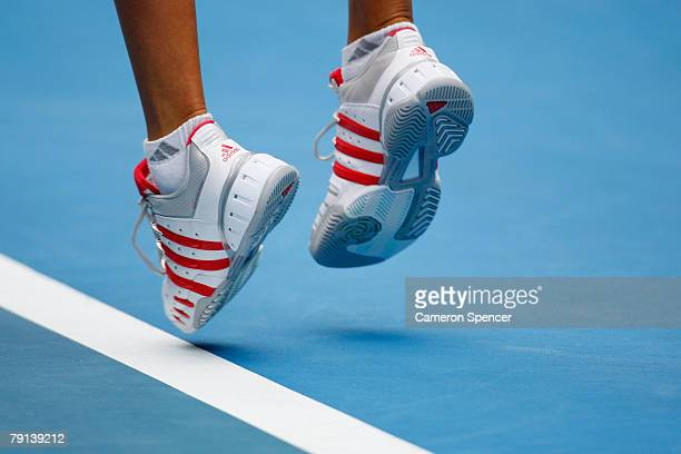 Ana Ivanovic of Serbia serves during her fourth round match against Caroline Wozniacki of Denmark on day eight of the Australian Open 2008 at...