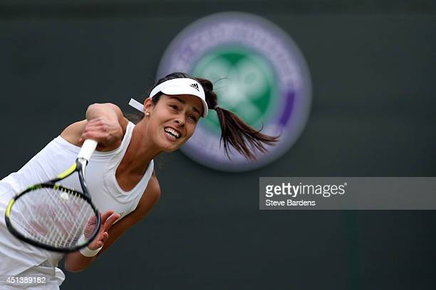 Ana Ivanovic of Serbia serves during her Ladies' Singles third round match against Sabine Lisicki of Germany on day six of the Wimbledon Lawn Tennis...