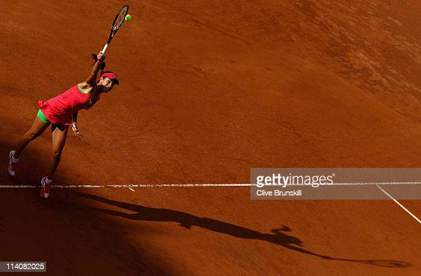 Ana Ivanovic of Serbia serves during her second round match against Yanina Wickmayer of Belgium during day four of the Internazoinali BNL D'Italia at...