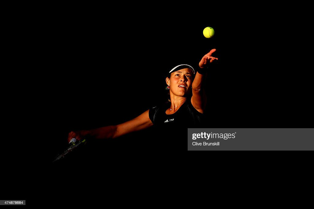 Ana Ivanovic of Serbia serves during her Women's Singles match against Misaki Doi of Japan during day four of the 2015 French Open at Roland Garros on May 27, 2015 in Paris, France.