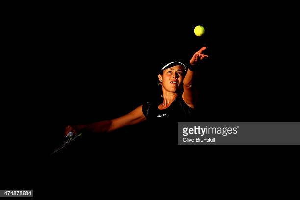 Ana Ivanovic of Serbia serves during her Women's Singles match against Misaki Doi of Japan during day four of the 2015 French Open at Roland Garros...