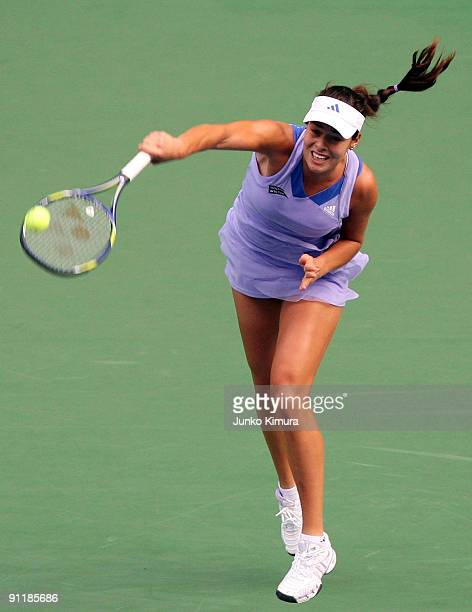 Ana Ivanovic of Serbia serves in her match against Lucie Safarova of Czech Republic during day one of the Toray Pan Pacific Open Tennis tournament at...