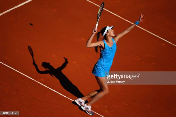 Ana Ivanovic of Serbia serves in her match against Madison Keys of USA during day two of the Mutua Madrid Open tennis tournament at the Caja Magica...