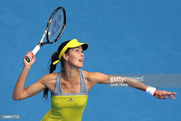 Ana Ivanovic of Serbia serves in her third round match against Jelena Jankovic of Serbia during day five of the 2013 Australian Open at Melbourne...