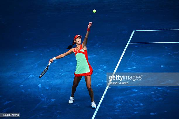 Ana Ivanovic of Serbia serves the ball to Nadia Petrova of Russia in her second round match during the Mutua Madrilena Madrid Open tennis tournament...