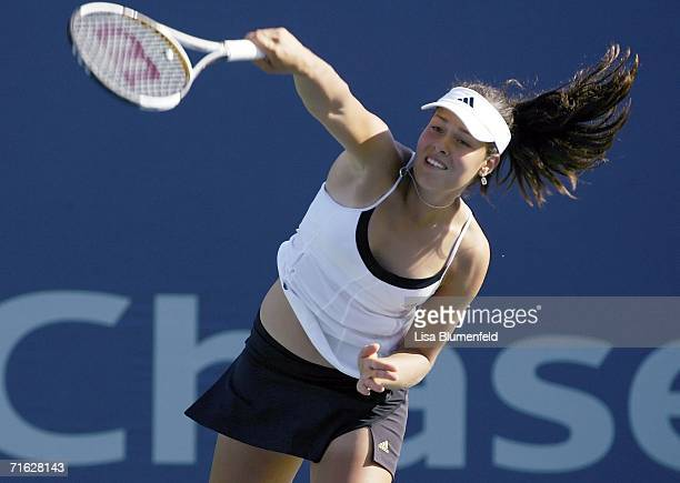 Ana Ivanovic of Serbia serves to AnnaLena Groenfeld of Germany on Day 4 of the JPMorgan Chase Open on August 10 2006 at Home Depot Center in Carson...