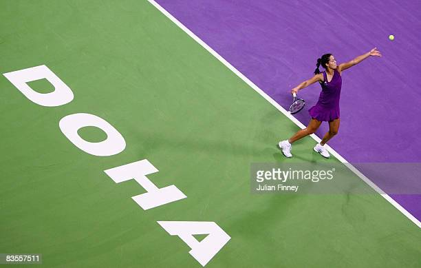 Ana Ivanovic of Serbia serves to Jelena Jankovic of Serbia during the Sony Ericsson Championships at the Khalifa Tennis Complex on November 4, 2008...