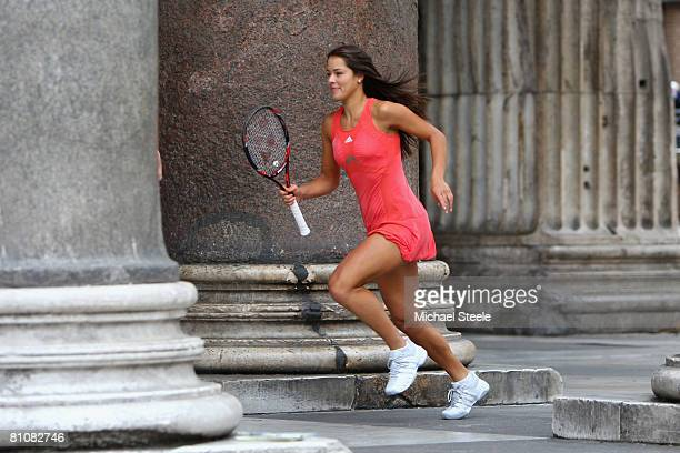 Ana Ivanovic of Serbia takes part in the shooting of a Sony Ericsson WTA Tour global TV advertising campaign on May 12, 2008 in Rome, Italy.