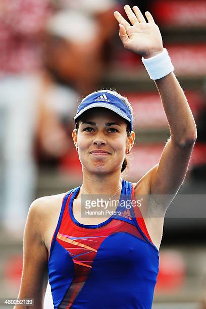 Ana Ivanovic of Serbia thanks the crowd after winning her semifinal match against Kirsten Flipkens of Belgium during day five of the ASB Classic at...