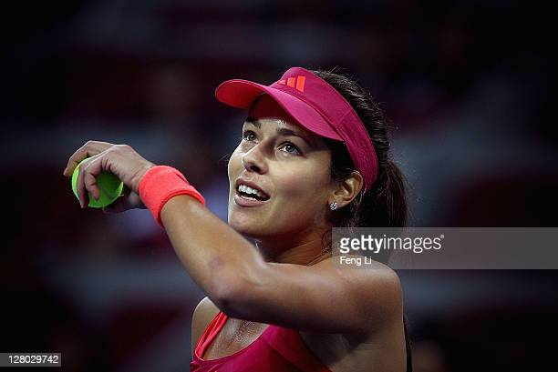 Ana Ivanovic of Serbia wins the match against Vera Zvonareva of Russia during the China Open at the National Tennis Center on October 5 2011 in...