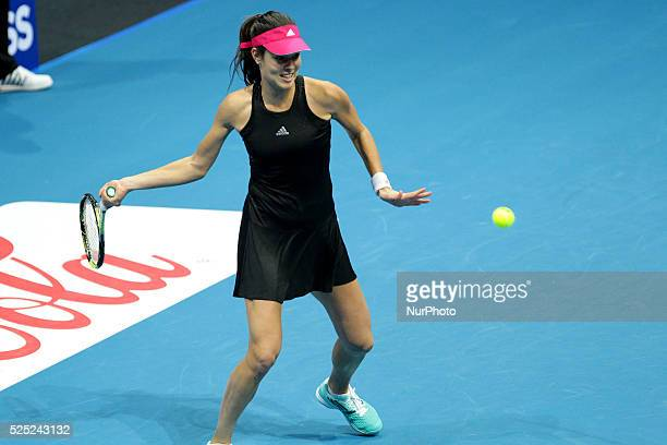 Ana Ivanovic of the Indian Aces hits a forehand return to Daniela Hantuchov�� of the Singapore Slammers during their singles match at the...