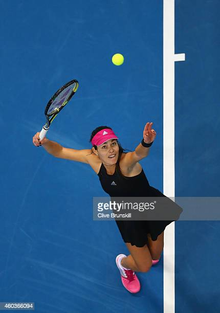 Ana Ivanovic of the Indian Aces serves against Kirsten Flipkens of the Manila Mavericks during the Coca-Cola International Premier Tennis League...