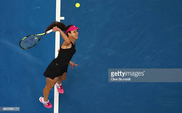 Ana Ivanovic of the Indian Aces serves against Kirsten Flipkens of the Manila Mavericks during the CocaCola International Premier Tennis League...