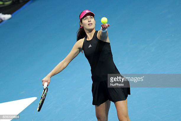 Ana Ivanovic of the Indian Aces serves to Daniela Hantuchov�� of the Singapore Slammers during their singles match at the International Premier...