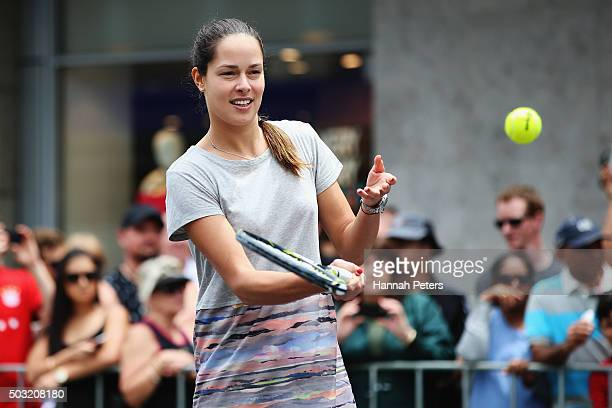 Ana Ivanovic takes part in an exhibition tennis match withon January 3 2016 in Auckland New Zealand The ASB Classic starts on Monday 4 2016