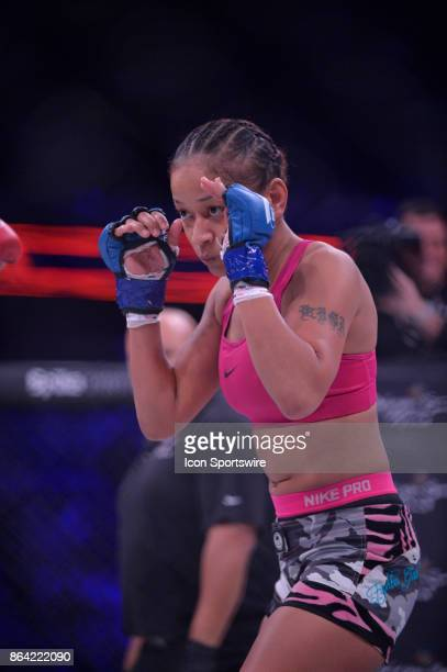 Ana Julaton takes on Lisa Blaine in a Flyweight bout on October 20 2017 at Bellator 185 at the Mohegan Sun Arena in Uncasville Connecticut Lisa...