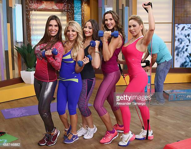 Ana Karina Manco Roxana Garcia Karla Monroig Angelica Castro and Claudia Molina visit the set of 'Despierta America' to promote the play 'Brujas' at...