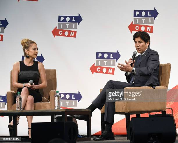 Ana Kasparian interviews Kevin de Leon during Politicon 2018 at Los Angeles Convention Center on October 21 2018 in Los Angeles California