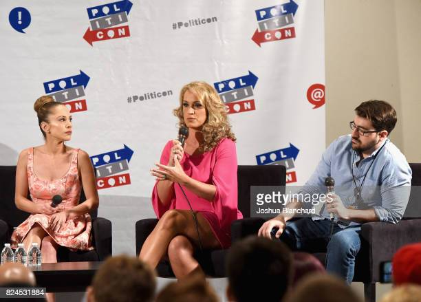 Ana Kasparian Scottie Nell Hughes and Trae Crowder at the 'Turning Point USA Presents Bringing Conservatism Back To Millennials' panel during...