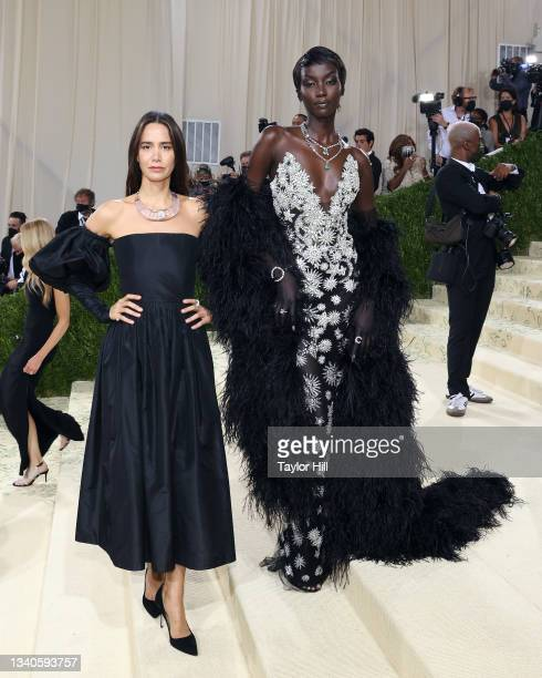 """Ana Khouri and Anok Yai attend the 2021 Met Gala benefit """"In America: A Lexicon of Fashion"""" at Metropolitan Museum of Art on September 13, 2021 in..."""